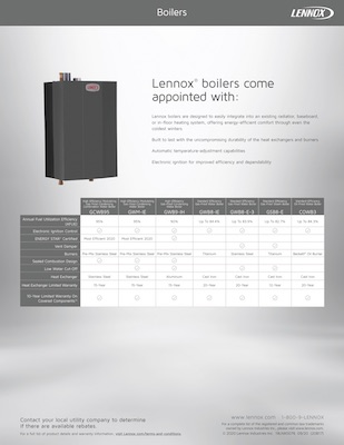 Lennox Boiler Comparison Brochure